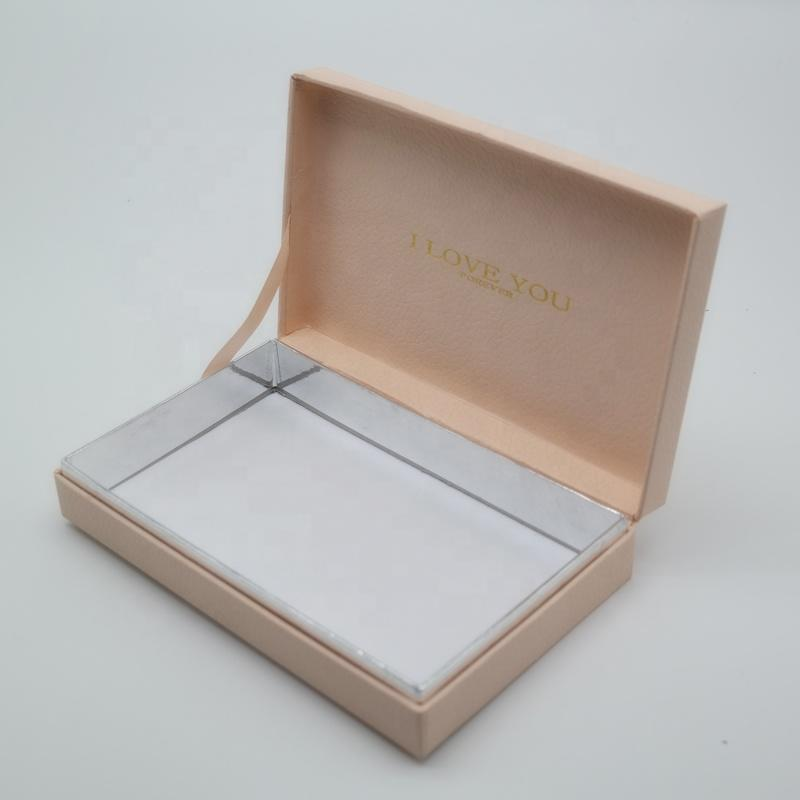 Custom luxury hot satmp logo paper jewelry gift box self closure