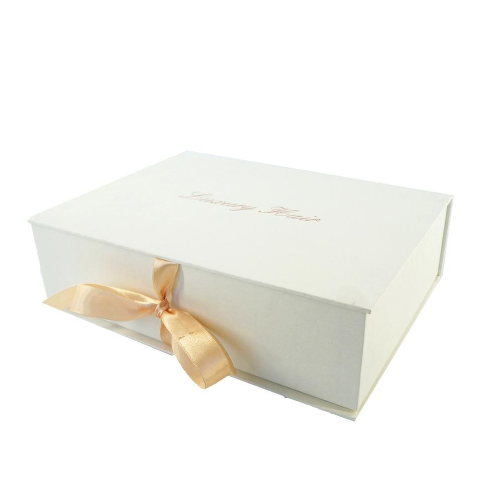 Custom Cardboard Paper Packaging magnetic Gift Box with Ribbon