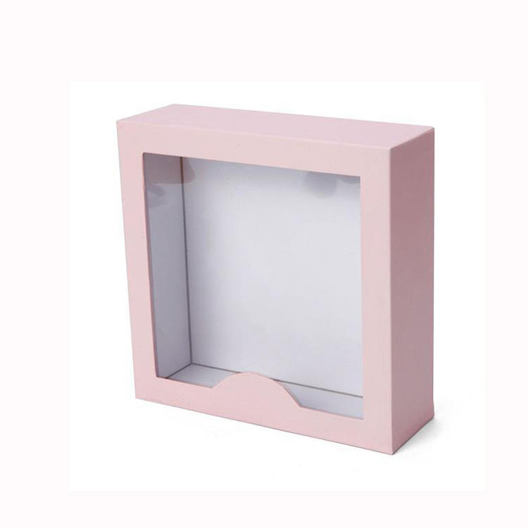 Luxury Pink Color Cardboard Gift Paper Box with Window