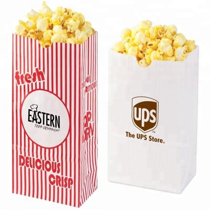 high quality logo printed greaseproof custom popcorn paper bag