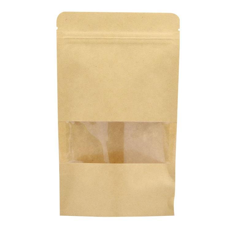 reusable ziplock dried fruit packing kraft paper bag for food