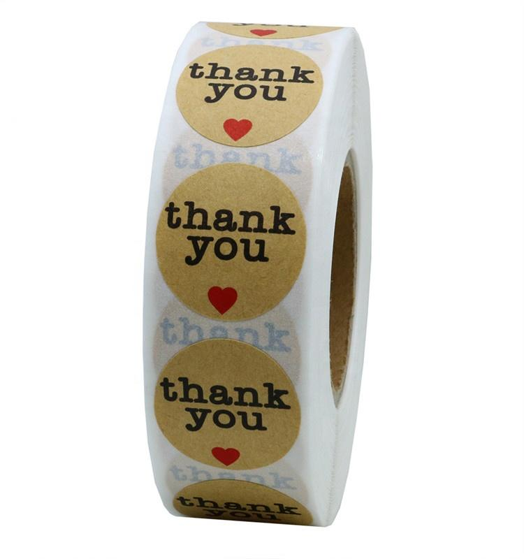 Hybsk Kraft Thank You Stickers with Red