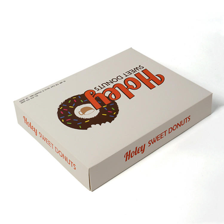 Customized food doughnut packaging box with color-printed food-grade materials