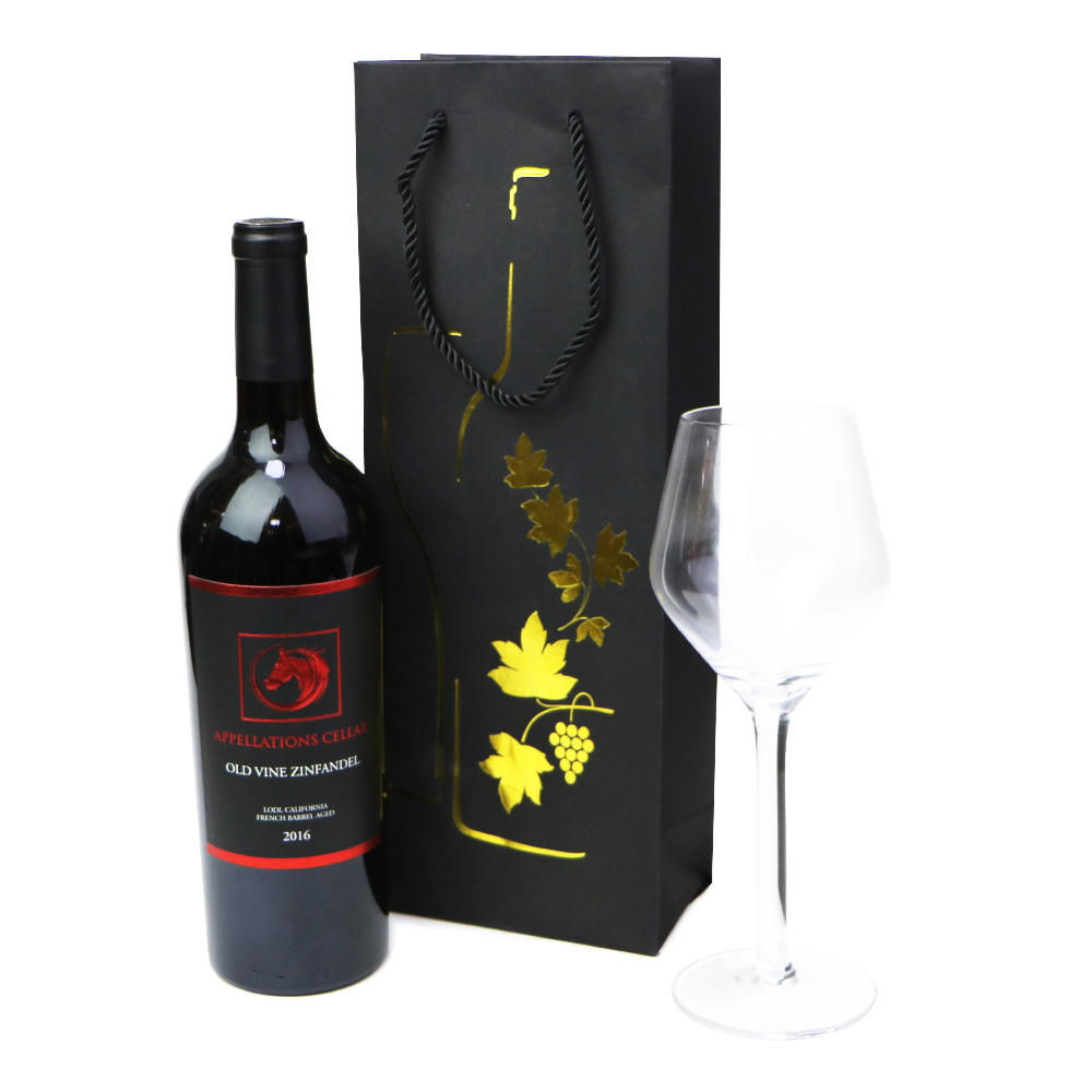 Kraft paper wine bag with black ribbon handle
