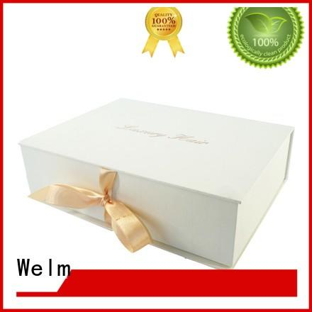 Welm luxury magnetic closure gift box logo for gift