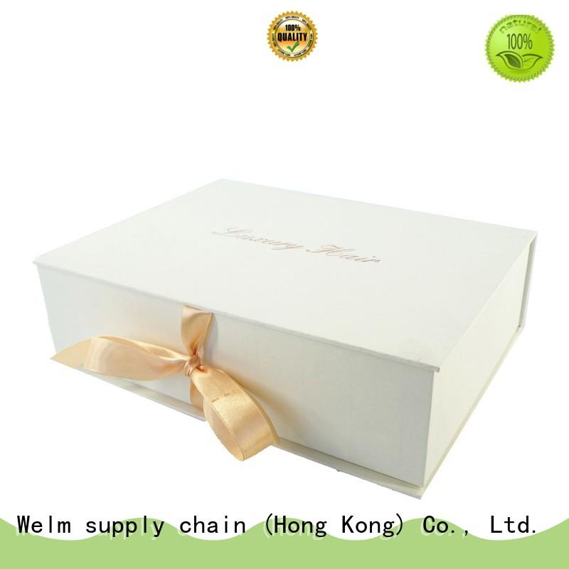 Welm hot stamp logo gift boxes wholesale custom made for sale