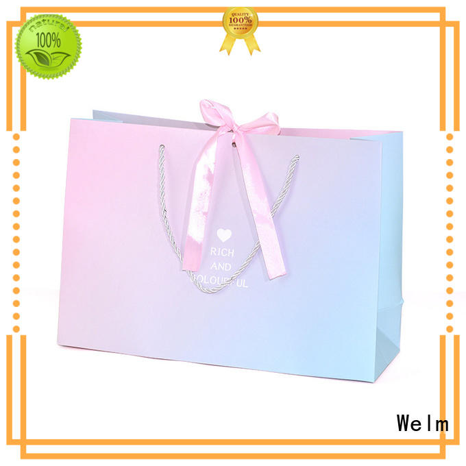 Welm handle kraft paper bags no handles for business for gift shopping