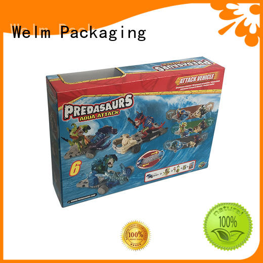 Welm corrugated paper toy box designs with pvc window for toy