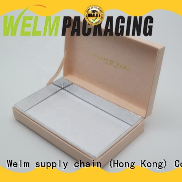 Welm logo gift boxes wholesale with ribbon for necklace